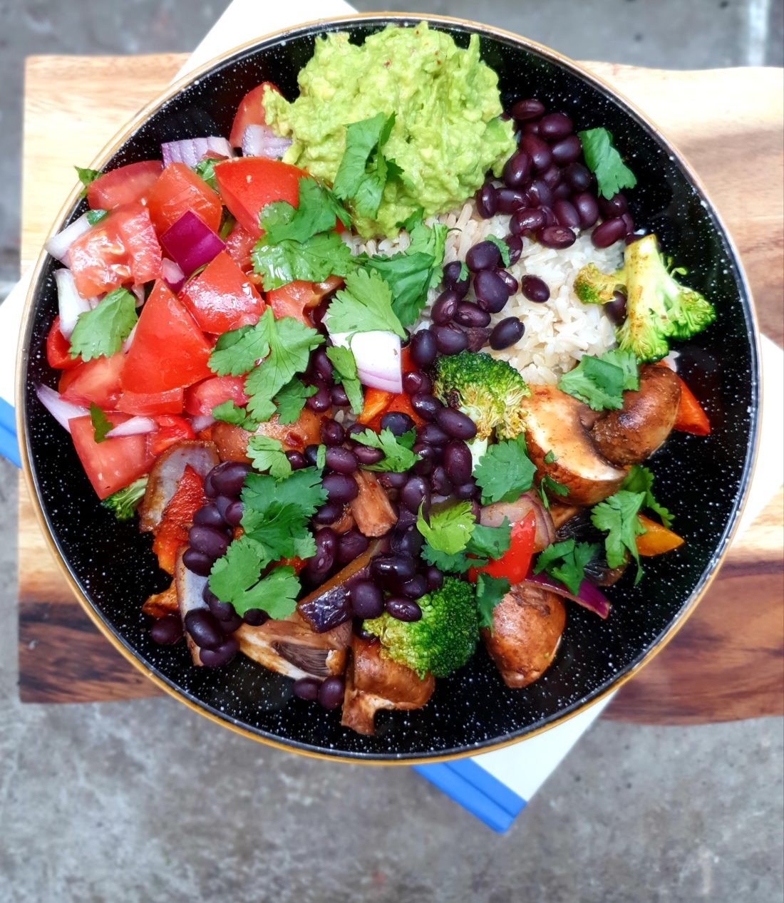 vegan fajita bowl